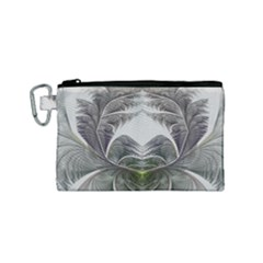 Fractal White Design Pattern Canvas Cosmetic Bag (small)