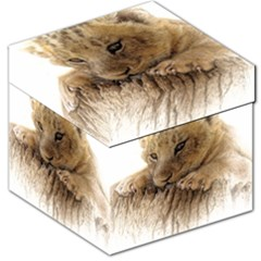 Lion Cub Close Cute Eyes Lookout Storage Stool 12