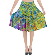 Background Art Abstract Watercolor Flared Midi Skirt