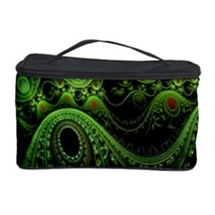 Fractal Green Gears Fantasy Cosmetic Storage Case by Celenk