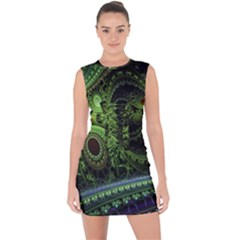 Fractal Green Gears Fantasy Lace Up Front Bodycon Dress