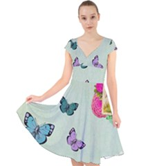 Whimsical Shabby Chic Collage Cap Sleeve Front Wrap Midi Dress by 8fugoso