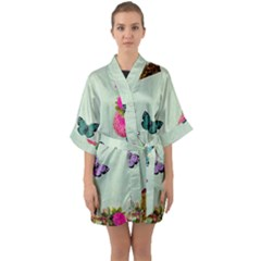Whimsical Shabby Chic Collage Quarter Sleeve Kimono Robe by 8fugoso