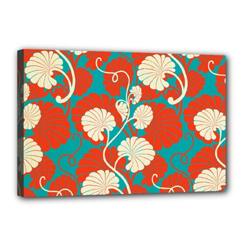 Floral Asian Vintage Pattern Canvas 18  X 12  by 8fugoso