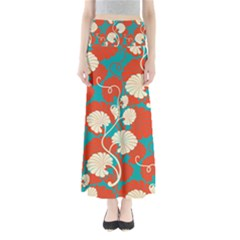 Floral Asian Vintage Pattern Full Length Maxi Skirt by 8fugoso