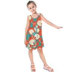 Floral Asian Vintage Pattern Kids  Sleeveless Dress by 8fugoso