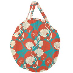 Floral Asian Vintage Pattern Giant Round Zipper Tote by 8fugoso