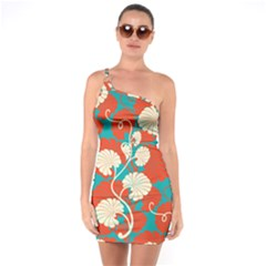 Floral Asian Vintage Pattern One Soulder Bodycon Dress by 8fugoso