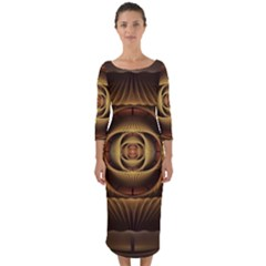 Fractal Copper Amber Abstract Quarter Sleeve Midi Bodycon Dress by Celenk
