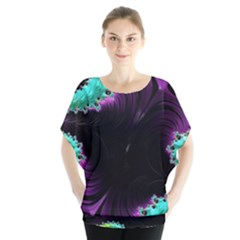 Fractals Spirals Black Colorful Blouse by Celenk