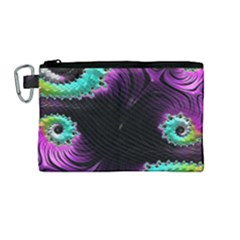 Fractals Spirals Black Colorful Canvas Cosmetic Bag (medium) by Celenk