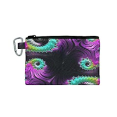 Fractals Spirals Black Colorful Canvas Cosmetic Bag (small) by Celenk