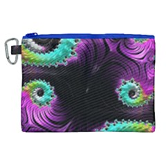 Fractals Spirals Black Colorful Canvas Cosmetic Bag (xl) by Celenk