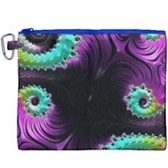Fractals Spirals Black Colorful Canvas Cosmetic Bag (xxxl) by Celenk