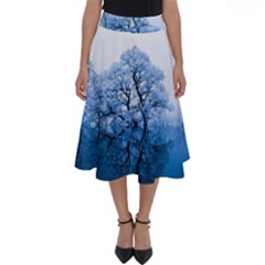 Nature Inspiration Trees Blue Perfect Length Midi Skirt