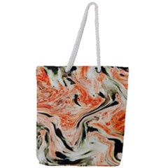 Marble Texture White Pattern Full Print Rope Handle Tote (large)