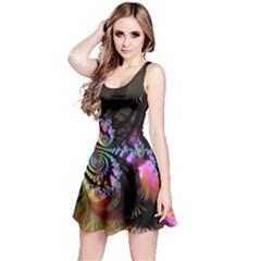 Fractal Colorful Background Reversible Sleeveless Dress