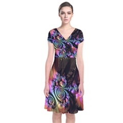 Fractal Colorful Background Short Sleeve Front Wrap Dress