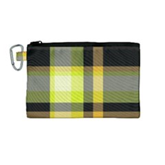 Tartan Abstract Background Pattern Textile 5 Canvas Cosmetic Bag (medium) by Celenk