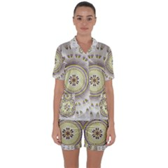Mandala Fractal Decorative Satin Short Sleeve Pyjamas Set
