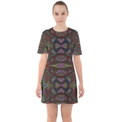 Pattern Abstract Art Decoration Sixties Short Sleeve Mini Dress