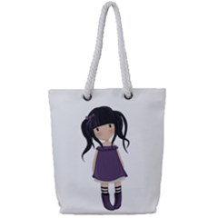 Dolly Girl In Purple Full Print Rope Handle Tote (small)