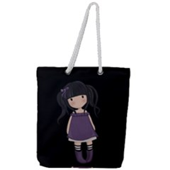 Dolly Girl In Purple Full Print Rope Handle Tote (large) by Valentinaart