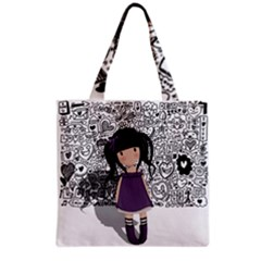 Dolly Girl In Purple Grocery Tote Bag by Valentinaart