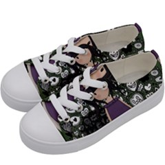 Dolly Girl In Purple Kids  Low Top Canvas Sneakers by Valentinaart