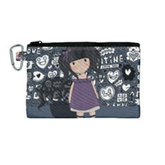 Dolly Girl In Purple Canvas Cosmetic Bag (medium) by Valentinaart