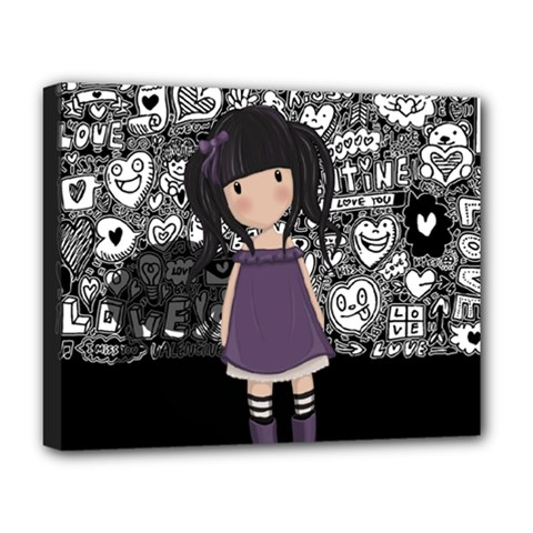 Dolly Girl In Purple Deluxe Canvas 20  X 16   by Valentinaart