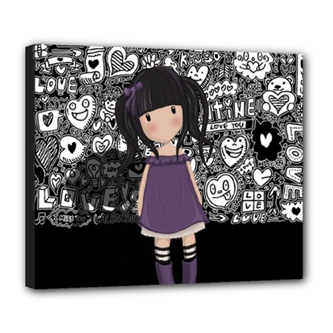 Dolly Girl In Purple Deluxe Canvas 24  X 20   by Valentinaart