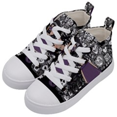 Dolly Girl In Purple Kid s Mid Top Canvas Sneakers by Valentinaart