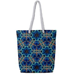 Diamond Star Blue 01 Full Print Rope Handle Tote (small)