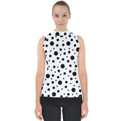 Black On White Polka Dot Pattern Shell Top