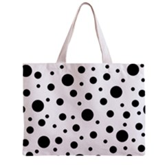 Black On White Polka Dot Pattern Zipper Mini Tote Bag by LoolyElzayat
