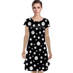 White On Black Polka Dot Pattern Cap Sleeve Nightdress by LoolyElzayat