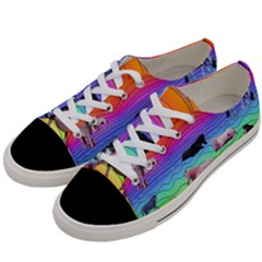Horses In Rainbow Women s Low Top Canvas Sneakers by CosmicEsoteric