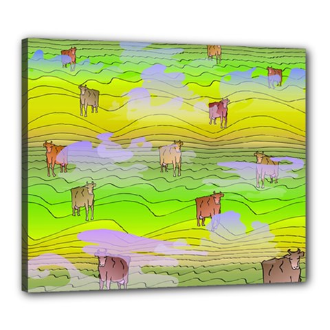 Cows And Clouds In The Green Fields Canvas 24  X 20  by CosmicEsoteric