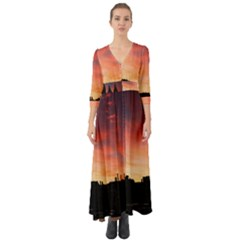 Sunset Silhouette Sun Sky Evening Button Up Boho Maxi Dress