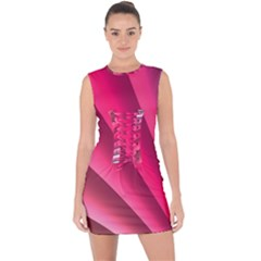 Wave Pattern Structure Texture Colorful Abstract Lace Up Front Bodycon Dress