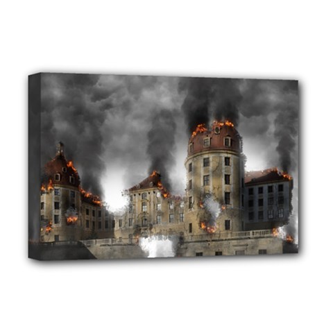 Destruction Apocalypse War Disaster Deluxe Canvas 18  X 12   by Celenk