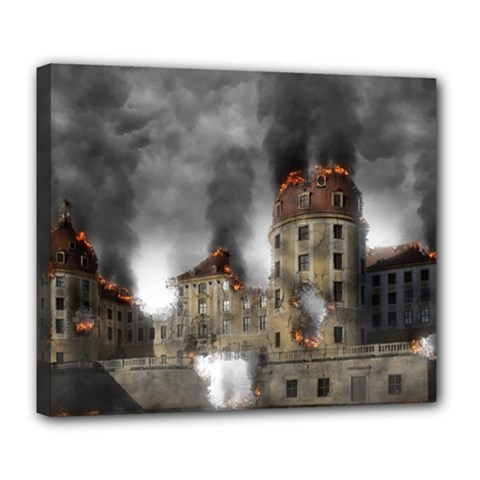 Destruction Apocalypse War Disaster Deluxe Canvas 24  X 20   by Celenk