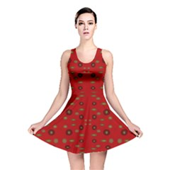 Brown Circle Pattern On Red Reversible Skater Dress