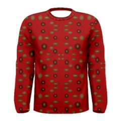Brown Circle Pattern On Red Men s Long Sleeve Tee