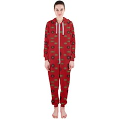 Brown Circle Pattern On Red Hooded Jumpsuit (ladies)