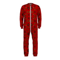 Brown Circle Pattern On Red Onepiece Jumpsuit (kids)