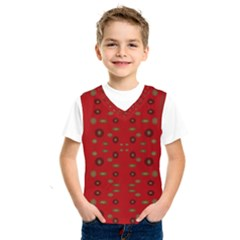 Brown Circle Pattern On Red Kids  Sportswear