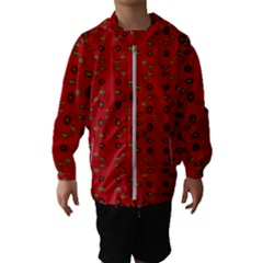 Brown Circle Pattern On Red Hooded Wind Breaker (kids)