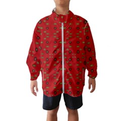 Brown Circle Pattern On Red Wind Breaker (kids)